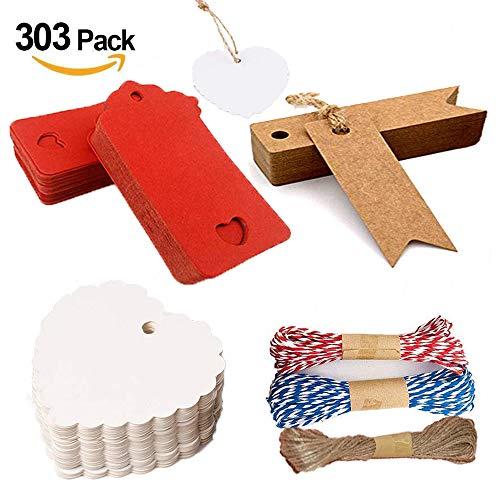 300 Pezzi Tag Regalo, targhette carta kraft , Etichetta Vuoto Mestiere Carta Tag, Corda di canapa da 30m, corda colorata da 20m. Utilizzato per matrimoni, compleanni e Natale