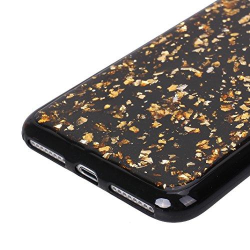 iPhone 8 Plus Schutzhülle, iPhone 7 Plus Glitzer Hülle Rosa Schleife Ultra Dünn Silikon Schwarz Handyhülle Backcover Glitzer Sequins Protective Case Rück Schale Bumper für iPhone 7 Plus / iPhone 8 Plu Gold