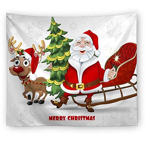 MTDSWHNDQRJ Weißer Bart Santa Claus Green Christmas Tree Tapisserie Bohemian Wandteppich Wandtuch Strandtücher Polster Decke für Haus Schlafzimmer Wohnzimmer Wand Deko,150x200cm(59x79IN) -