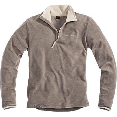 Pharao Fleeceshirt Herren langarm Fleece Shirt 1.0 Langarmshirt Fleecepullover Microfleece, mit Stehkragen und Reißverschluss, sand/beige, M (Langarm-fleece-shirt)