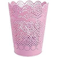 laat plástico tablero Cubo de basura Oficina Escritorio Organizador Papel escombro cesta de cubo de basura papelera de mesa Mini Contenedor sin tapa, PP, Rosa, 17.8 * 14 * 10.3cm