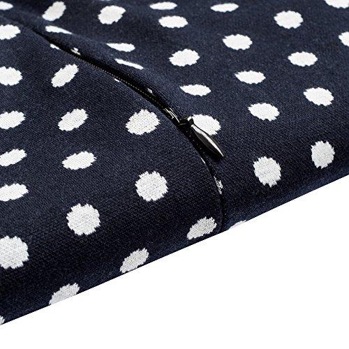 HOMEYEE Damen Vintage Langarm Elegant Kleid Business Party Cocktailkleid Knielanges Abendkleid B238 Dot + Dunkelblau