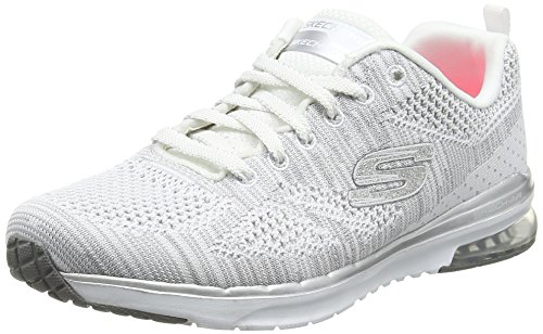 Skechers Air Infinity Stand Out, Fitness Femme, (Blanc/Argent), 40 EU