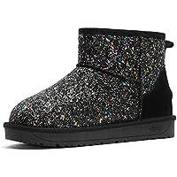 Zapatos Invierno Mujer Botas De Nieve,Moda Negro Silvestre Sequin Cold Protection Tubo Corto Invierno Cálido Suave Tubo Medio Cómodo Algodón Amortiguación Botas Mujeres Antideslizante Exterior 36