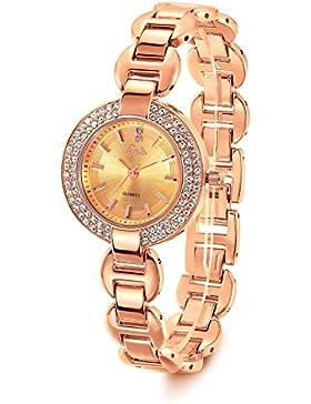 Barbie Damenuhr Edelstahl Armband mit Strass Armbanduhr Quarz Analog Uhr aristokratische hochwertige Uhr Gold...