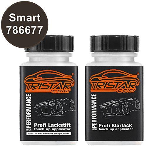 Preisvergleich Produktbild TristarColor Autolack Lackstift Set Smart 786677 Macadamia Braun Metallic Basislack Klarlack je 50ml