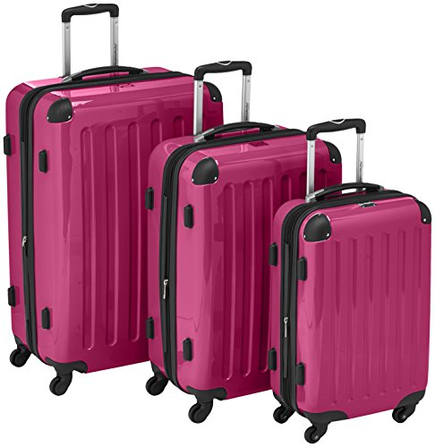 HAUPTSTADTKOFFER – Alex – Set of 3 Hard-side Luggages Glossy Suitcase Hardside Spinner Trolley Expandable (S, M & L) Pink