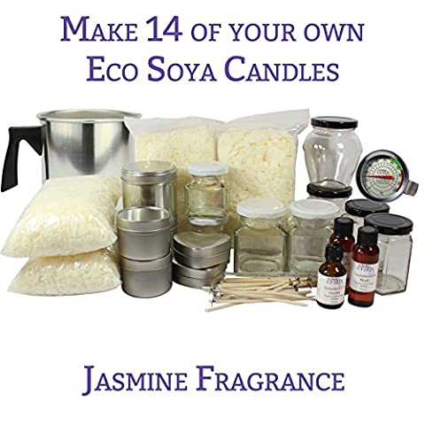 Ultimate 14 Mixed Container FULL Candle Making Kit - Makes 14 Jar & Tin Container Eco Soya Candles, Easy to Use with Wax Melting Pitcher, Candle Makers Thermometer & Full Instruction Booklet Supplied - Our Family Crafts (Jasmine)