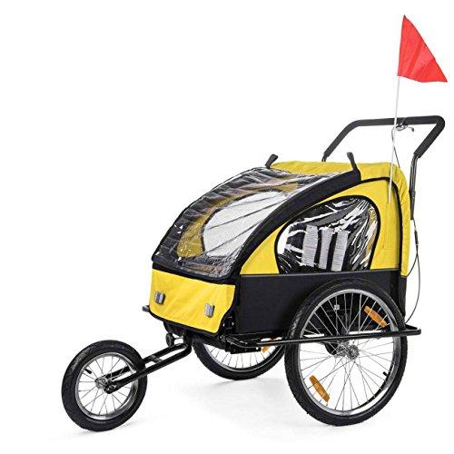SAMAX Fahrradanhänger Jogger 2in1 Kinderanhänger Kinderfahrradanhänger Transportwagen für 2 Kinder Gelb/Schwarz - Black Frame - 2