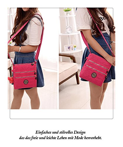 Honeymall borse a spalla borsa a tracolla muliti tasche borsetta le donne casuale multi tasca Borsa a tracolla impermeabile Viola rosa