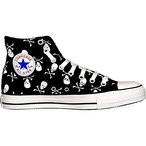 9 Star All Converse Herren-größe (Converse All Star Totenkopf Chucks HI Black / White Skull 1Q458 Grösse 42,5 (UK: 9))
