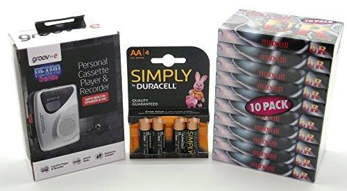 groov-e-gvps525-retro-personal-cassette-player-maxell-ur90-audio-tape-10pk-duracell-aa-mn1500-4pk