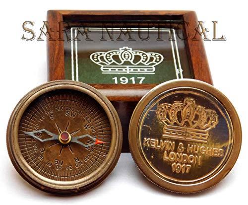 Sara Nautisches Old Messing Antik Vintage Kelvin & Hughes Kompass mit Hartholz Holz Box -