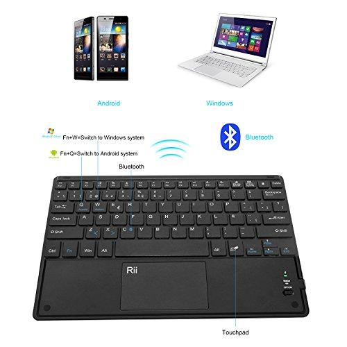 Rii Ultra-delgado teclado bluetooth con una función de multi-touchpad y batería recargable,color negro - QWERTY Español