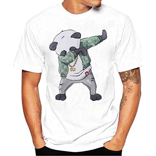 Preisvergleich Produktbild URSING_Herren T-Shirt Kurzarmshirt Sommer Top Casual Slim Fit Bluse Basic Rundhals Freizeit Hemden Oversize Shirt Oberteile Coole Streetwear Sportlich Sommer Tops & Shirts (M, Weiß_A)