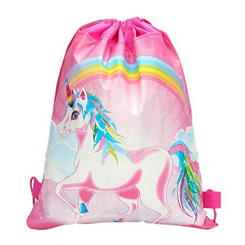 Qiuliguo Einhorn Kordelzug Rucksack Turnbeutel Beutel Tasche für Kinder Mädchen Kindergeburtstag Einhorn Party -Set von 2