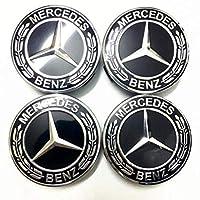 VIQILANY 4pcs Set 75mm Black Wreath Wheel Center Hub Caps Fit For Mercedes Benz C ML CLS S GL SL E CLK CL GL