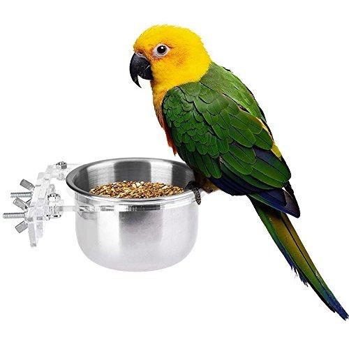 yunt Nourriture pour oiseaux Gamelle Bol Mangeoire avec support crochet pour Parrot Perroquet Gris d'Afrique Cage pour perruches ondulées perruche calopsitte Accessoires