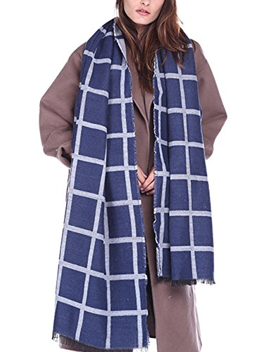 Femme Écharpe à Carreaux Cape Casual Mode Châle Grande Plaid Glands Foulard Longue Beunique Bleu foncé