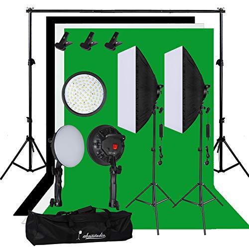 YISITONG Fotostudio-Beleuchtungsset mit 2 x 30 W LED-Softboxen, Weiß/Schwarz/Grün, Hintergrund 2 x 2 (30 Min Kostüm)