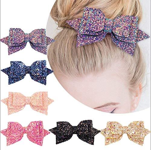 cute 6 Stück 5 Zoll Baby Mädchen Big Glitter Haarschleife Kinder Haarnadeln Haarspange Für Kinder Haarschmuck Retal Haarspange Frauen die Farbe ist zufällig geliefert (Halloween-einzelteilen Cute Baby)