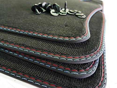 Styling Fußmatten 3er E46 Cabrio Original Qualität Velours Doppelnaht rot-blau Auto-Matten