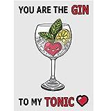 A5Jahrestag/Valentinstag/Love/Geburtstagskarte–Gin und Tonic