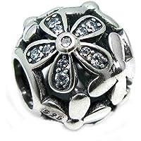 Ciondolo in Argento Sterling 925, a forma di margherita, in cristallo, con perle e zirconi (Orecchini Gioielli Chamilia)
