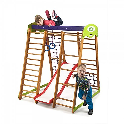 Kinder zu Hause aus Holz Spielplatz mit Rutschbahn ˝Karapuz-1˝ Kletternetz Ringe Kletterwand