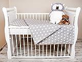 Amilian® 2 tlg. Bettwäsche Baby Bettset Pünktchen Grau Größe 100x135 cm (40x60 cm)