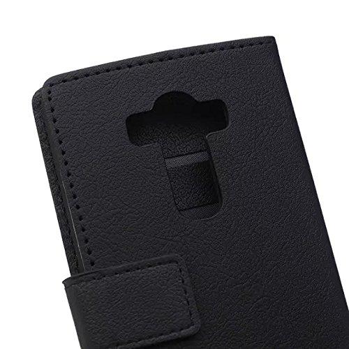 LG G4 Beat G4S Fall, Solid Color Kas Textur Muster Leder Schutzhülle Case Horizontal Flip Standplatz Fall mit Kartensteckplätze für LG G4 Beat G4S ( Color : White , Size : LG G4 Beat G4S ) Black