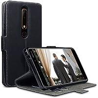 Nokia 6 2018 Hülle, Terrapin Leder Tasche Case Hülle im Bookstyle mit Standfunktion Kartenfächer für Nokia 6 2018 Hüllen - Schwarz