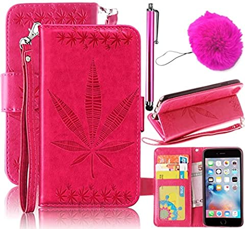 S7 Coque,Galaxy S7 Coque,Ultra Slim Flip Magnetic Cuir Etui Maple Leaf design Housse Poche Cas Couverture pour Samsung Galaxy S7,Vandot Coque Portefeuille PU Cuir avec Stand Case Leather Wallet Case Cover +Pendentif Charm Hairball +Stylet