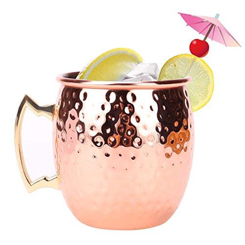 Preisvergleich Produktbild cravog Moscow Mule Wodka Buck Cocktail Cup Edelstahl Kupfer versilbert Hammer Form Trinken Tasse