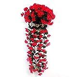 uyhghjhb 1 Strauß zum Aufhängen, künstliche Orchidee, Rattan, Blumendekoration, Violett rot