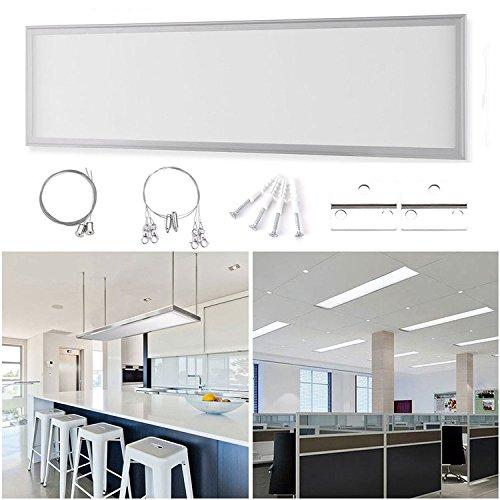 Licht Panel (Auralum Ultraslim 30*120*1.1cm LED Panel Set mit Befestigungsmaterial und LED Treiber/Trafo, Drei Installationsmethoden, 48W kaltweiß (6000-6500K) 240pcs SMD4014 Deckenleuchte auch als Hängeleuchte Pendelleuchte Material aus 6063 Aluminium, PCB und Polymethylmethacrylat (30x120cm 48W))