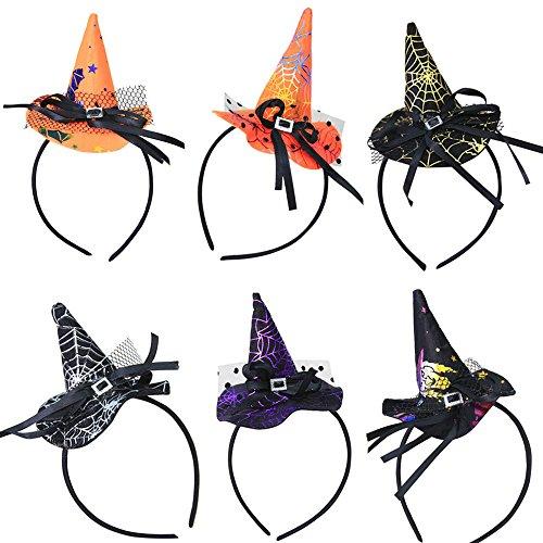 Coolster 6PCs Mehrfarbenhexe-Hut-Kostüm-Zusatz-Stirnband für Partei & Halloween & (Hut Kostüm Top Australien)