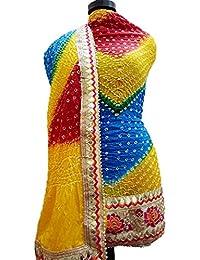 Jaipuri Rajasthani Suit Art Silk Bandhej Gota Patti Border