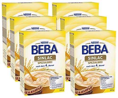 Soja-babynahrung (Nestlé BEBA Sinlac Spezialbrei, bei Glutenunverträglichkeit, milch-, soja- & glutenfreier Babybrei, mit Johannisbrotkeimmehl, nach dem 4. Monat, 6er Pack (6 x 500 g))
