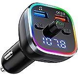 VicTsing Trasmettitore Bluetooth 5.0 per Auto, 6 Colori RGB Luce Anello, FM Transmitter Bluetooth 5V / 2.4A + Caricatore Auto QC3.0, Kit Vivavoce per Auto, Supporto U Disk/TF Card