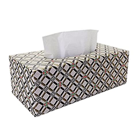 Série britannique Plaid de la maison de mode Creative PU Leather Tissue Boxes