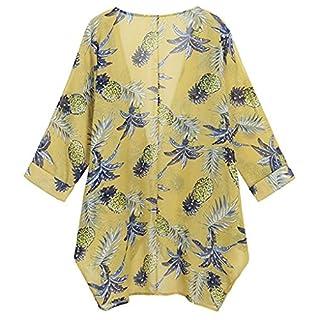 Lazzboy Womens Plant Print Chiffon Long Sleeve Loose Blouse Tops Kimono Cardigan(M(10),Yellow)