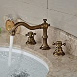 Rozin Antique Brass Widespread 3 Holes Bathroom Sink Faucet Dual Cross Knobs Mixer Tap