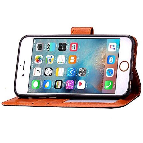 Custodia iPhone 6S, ISAKEN Custodia iPhone 6, iPhone 6 Flip Cover in Color, Elegante Fiori Pattern Design Custodia PU Pelle Protettiva Portafoglio Case Cover per Apple iPhone 6 4.7 / con Supporto di  rose red
