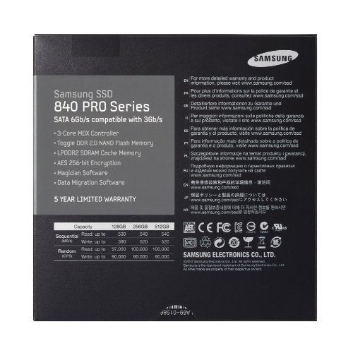 Samsung 840 Pro Series interne SSD-Festplatte 128GB (6,4 cm (2,5 Zoll), 256MB Cache, SATA III) anthrazit