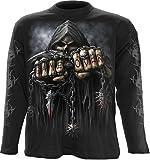 Spiral T-shirt à manches longues pour homme Motif Game Over Noir