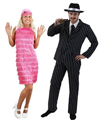 ILOVEFANCYDRESS 1920's=Gangster Paare= Halloween -Karneval -Fasching=NADELSTREIFEN Anzug IN 5 GRÖSSEN +Gangster Hut+ ZIGARRE+SCHNÄUTZER +FRANSEN Kleid+Stirnband+Feder = Anzug-XXL+Kleid/ROSA-XS