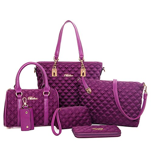 Ducomi® Lexy Five in One - Elegante Set di 5 Borse in Nylon e Ecopelle Purple Nuevos Estilos HIGQ4gey