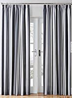 "Mali Striped Black Grey Cotton Blend Lined 90"" X 72"" - 229cm X 183cm Pencil Pleat Curtains by Curtains"