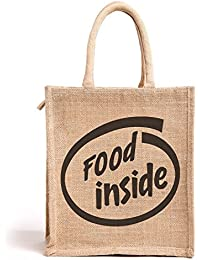 "H&B Beautiful, Trendy & Stylish Jute Handbag / ""Food Inside"" Text Bag / Quality Lunch Bag / Gift Bag / Jute Stylish..."